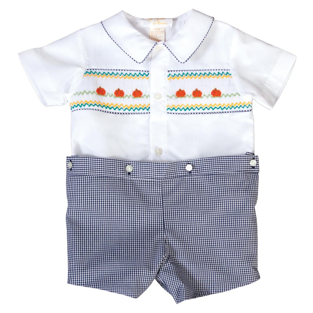 Pumpkins White / Navy Blue Gingham Smocked Button-On Short Set 19F 6637 SS1