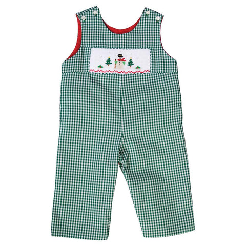Snowman Lg. Green Gingham Smocked Reversible Longall 19H 6649 L