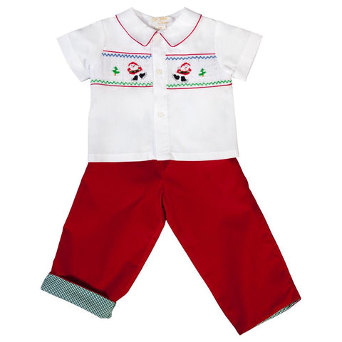 Ice Skating Santa Smocked White/Red Pants Set 19H 6650 SP