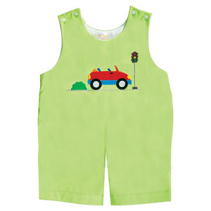 Red Car Applique Lime Green Romper 20SU 6659 R