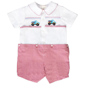 Dump Trucks Wht/Red Gingham Smocked Button-On Short Set 20SU 6673 SS1