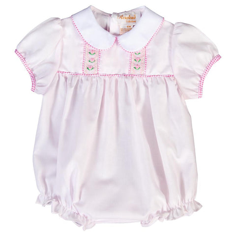 Bullion Flowers Lt. Pink Smocked Girl Bubble with Pink Gingham Trim 20SP 6677 BUG