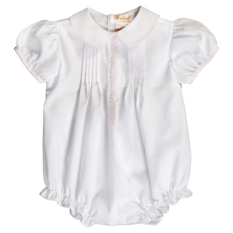 White Pink Feather Stitch & Pintucks Girl Bubble w.Cap Sleeves 20SP 6680 BUG