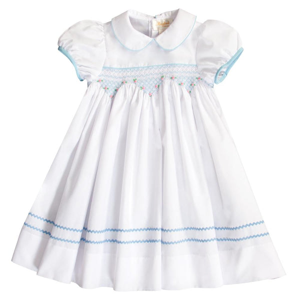 Sarah White Blue English Smocked Baby Dress w/Cap Sleeves 20SP 6688 D BL