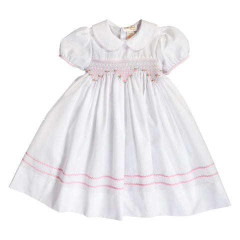Sarah White Pink English Smocked Baby Dress w/Cap Sleeves 20SP 6688 D PK