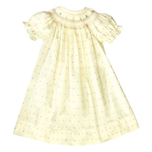 Lily Lt. Yellow Multi Dotted English Smocked Bishop 20SP 6694 A
