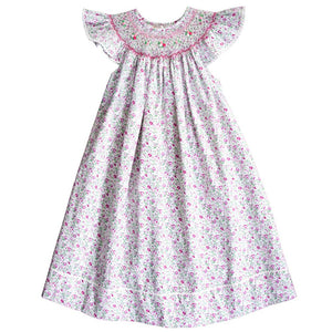 Pink Tiny Floral English Smocked Angel Sleeve Bishop w/RicRac 20SU 6696 A