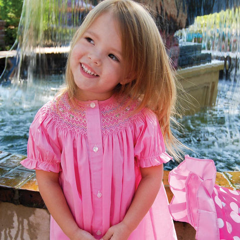 Sofie Med. Pink English Smocked Front Button Bishop 20SU 6698 A