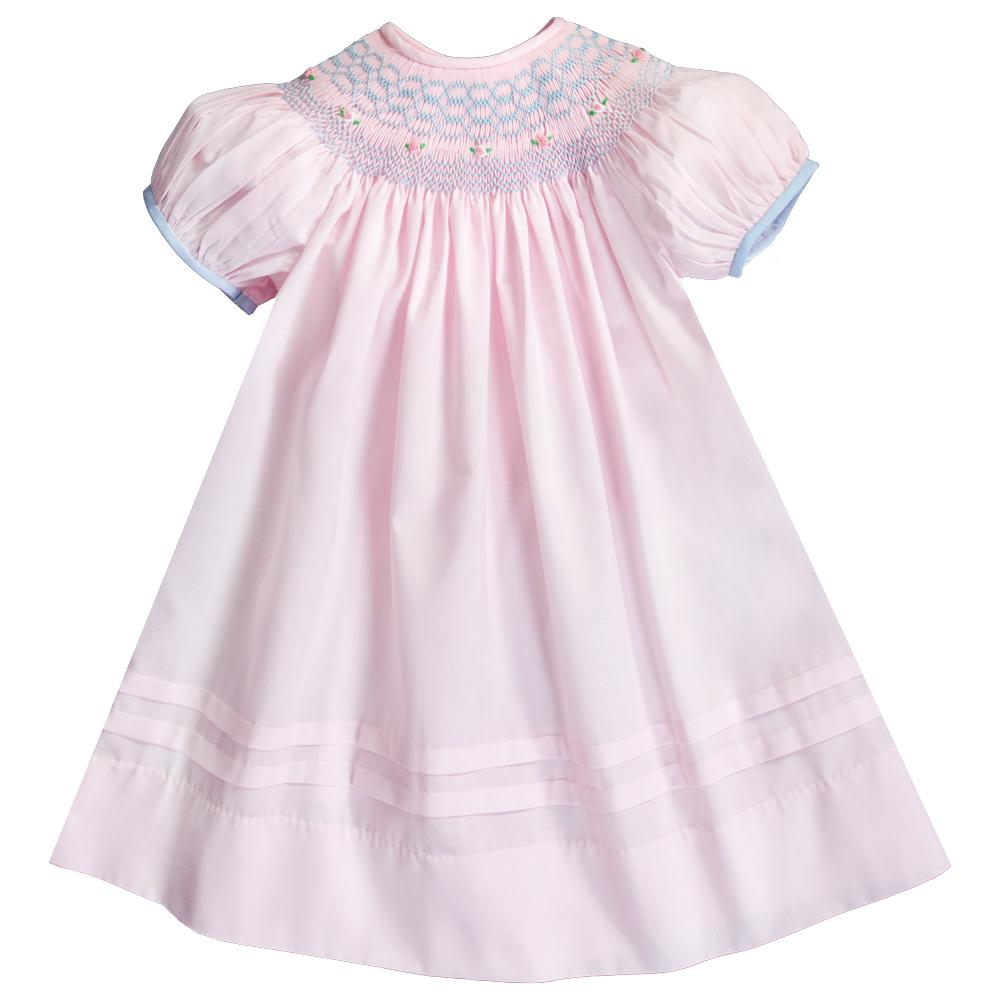 Pink Blue English Smocked Bishop w/Cap Sleeves 20SU 6715 A