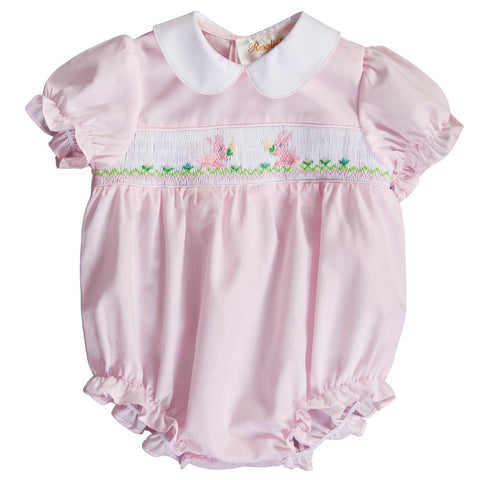Posey Bunnies Lt. Pink Smocked Girl Bubble 20SP 6746 BUG