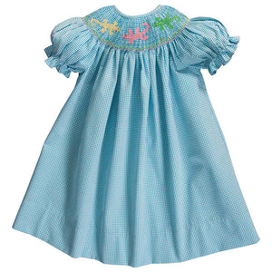 Gecko Turquoise Seersucker Gingham Smocked Bishop 20SU 6748 A