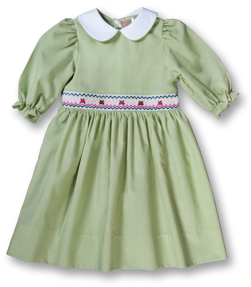 Elena Moss Green 3/4 Sleeve Smocked Baby Dress w/Peter Pan Collar 17F 7006 D