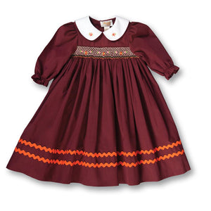 Eleanor Maroon Striped 3/4 Sleeve Smocked Baby Dress w/Peter Pan Collar & RicRac 17F 7007 D