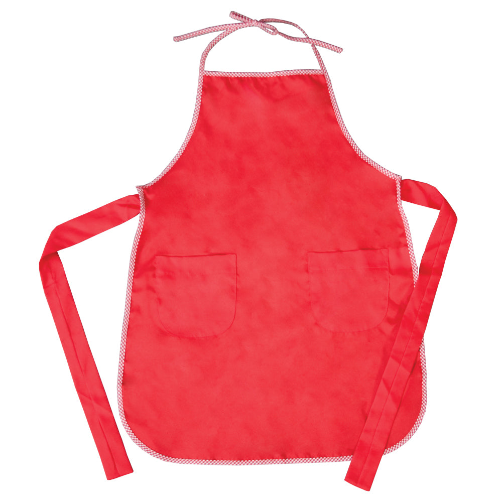 Red Child Apron with Gingham Trim 7322 RED
