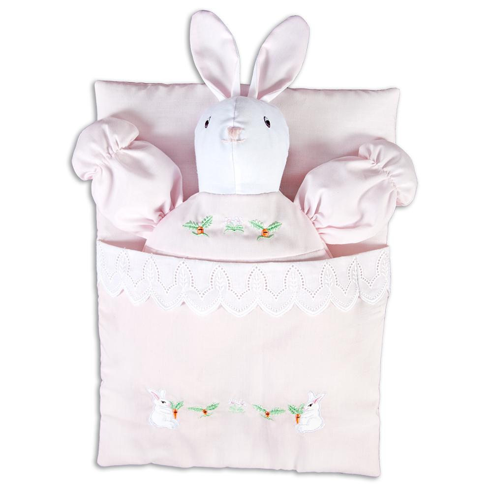 Pink Embroidered Bunting Bunny Doll 7494 PK