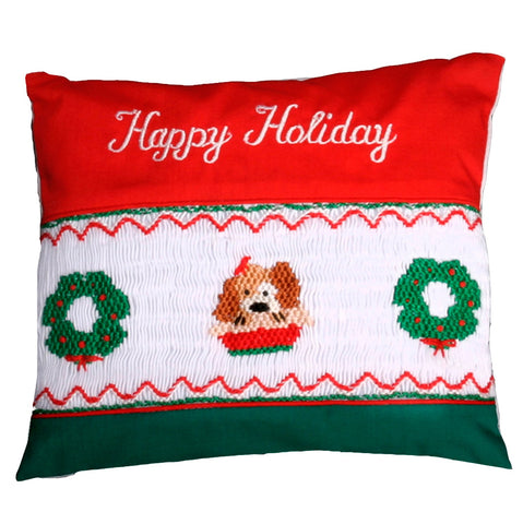 Dog Wreath Smocked Mini Pillow 863