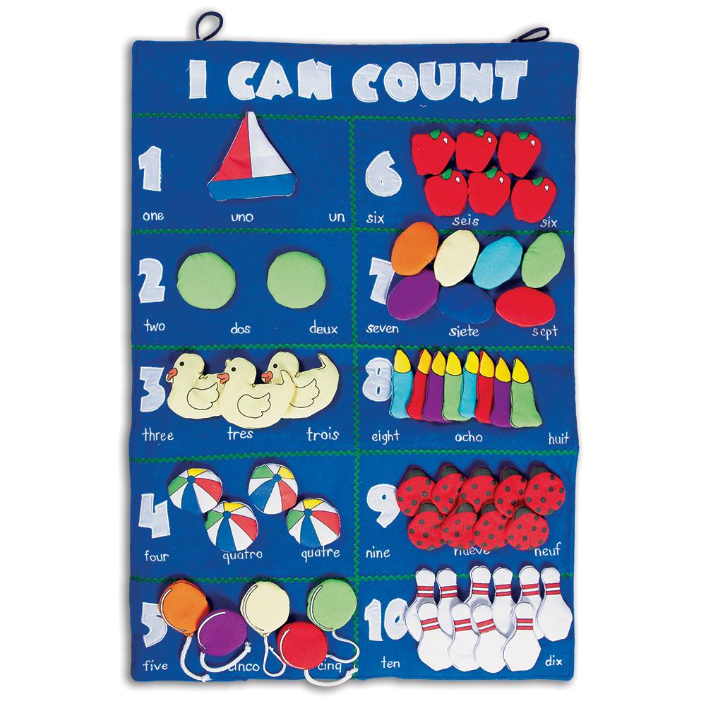 I Can Count Trilingual Blue Wall Hanging FO7349 BL