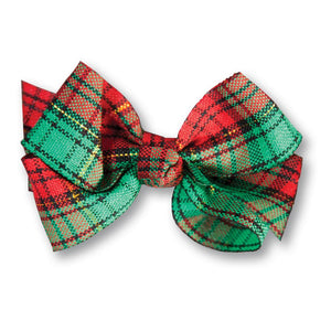 Red Green Plaid Hairbow 17H HB 290