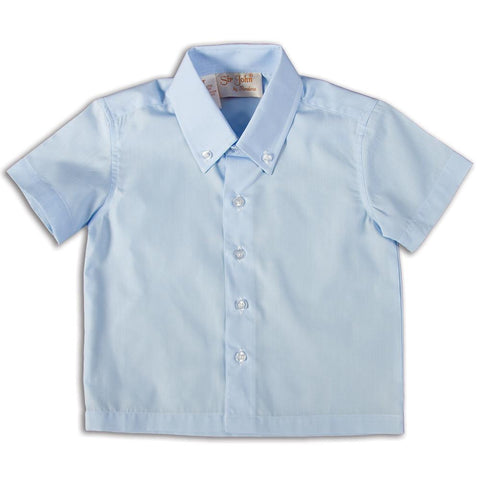 Solid Blue Short Sleeve Polo Shirt DAYR J-005