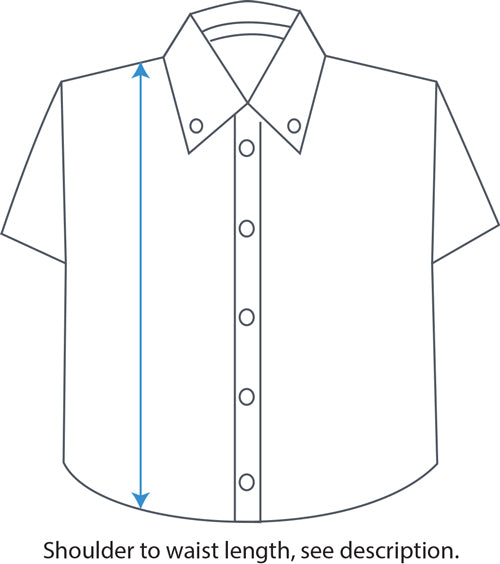 J Series Polo Shirt Shoulder to Waist Diagram