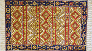 Silken embroidered Turkish Kilim design - Exquisiti