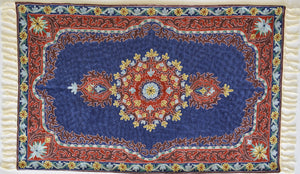 Red Medallion in Royal Blue - Silk Embroidered Rug or Wall Hanging #10 - Exquisiti
