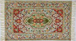 Peach Floral in red - Silk Embroidered Rug or Wall Hanging #11 - Exquisiti