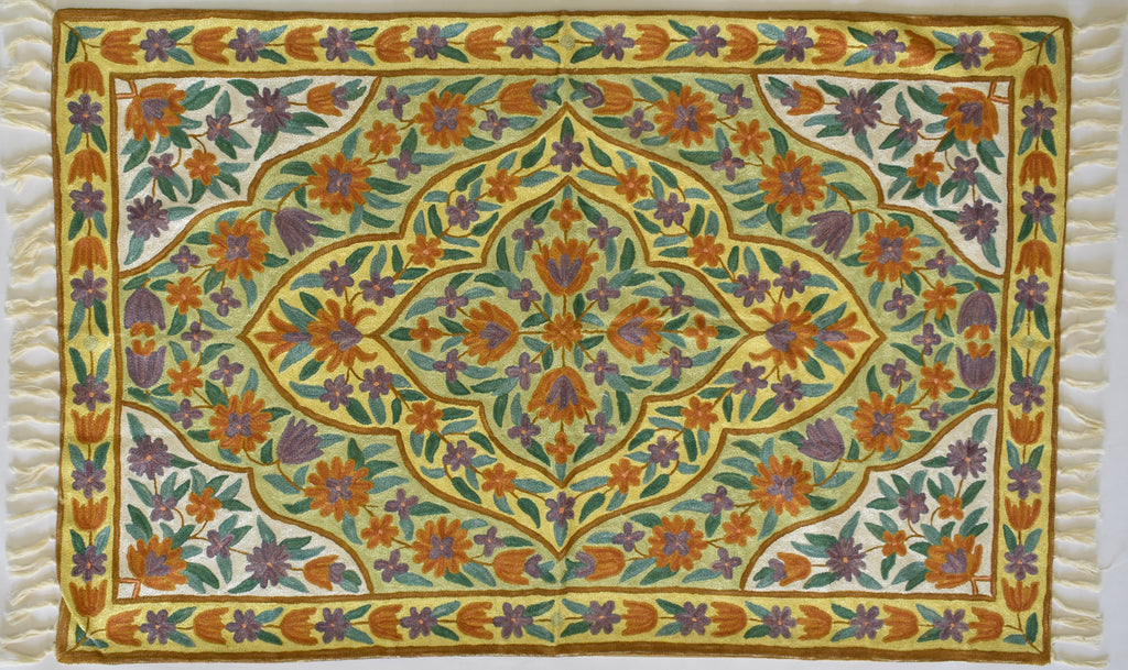 Rungoli design in yellow and green - Silk Embroidered Rug or Wall Hanging #14 - Exquisiti