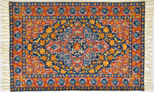 Mustard and Blue florets on red base - Silk Embroidered Rug or Wall Hanging #12 - Exquisiti