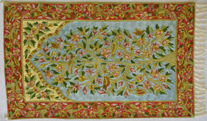 The Tree of Life - Silk Embroidered Rug or Wall Hanging - Exquisiti