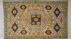 Universal charmer - Embroidered Silk Rug / Wall Hanging #16 - Exquisiti