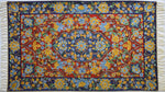 Classic Medallion in Red,  Blue and mustard florets - Embroidered Silk Rug / Wall Hanging - Exquisiti