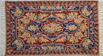 Favorite Regal red, blue and peach design  - Embroidered Silk Rug / Wall Hanging - Exquisiti