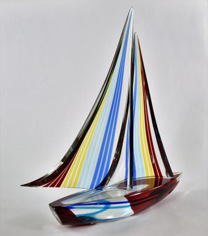 Sailboat with multicolor Spinnaker - art work from Alberto Dona