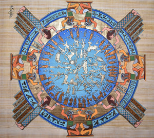 Painting of Ancient Egyptian Calendar - Original Water Color on Papyrus Paper