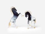 Poster - of Murano glass sculptures of a Dashing Playful Pair of Black Horses