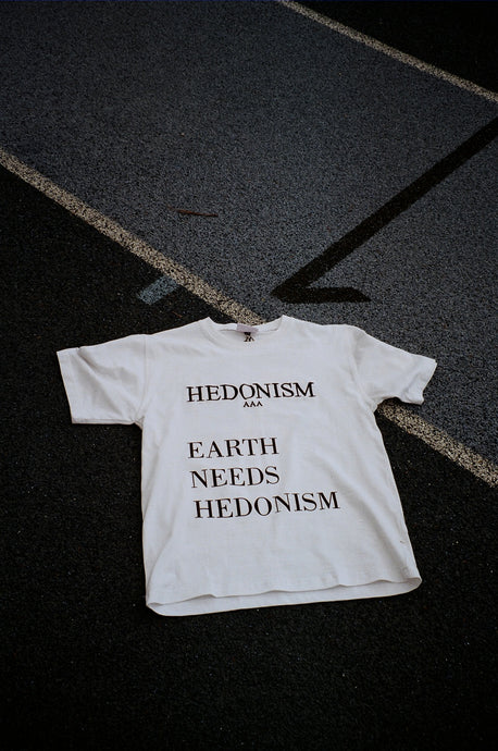 Hedonism x Sustainable Zack « Earth Needs Hedonism » white tee shirt