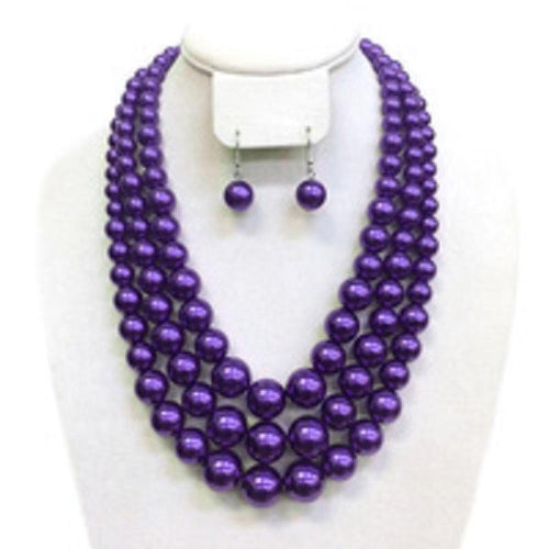 3-strand Royal Purple Pearls with matching earrings