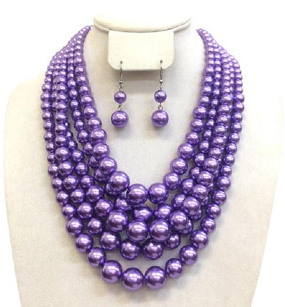 5-strand Lavender layered Pearl Necklace with matching earrings
