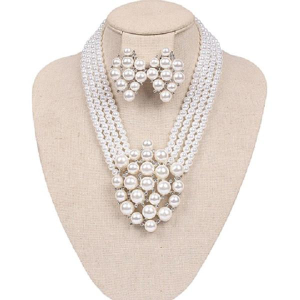 Pearl Crest Necklace with clip-on earrings
