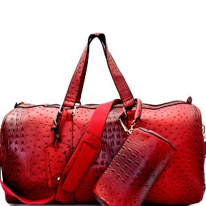 Red Ostrich Duffle