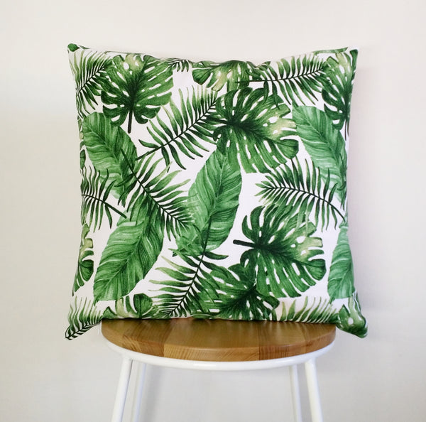 Tropical print cushion cover, monstera cushion, palm leaf print cushion, pillow