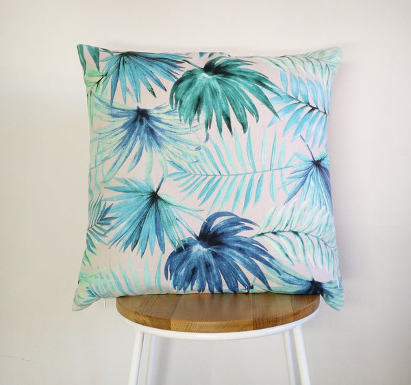 Tropical palm leaf print cushion pillow cover, aqua palm leaf print cushion