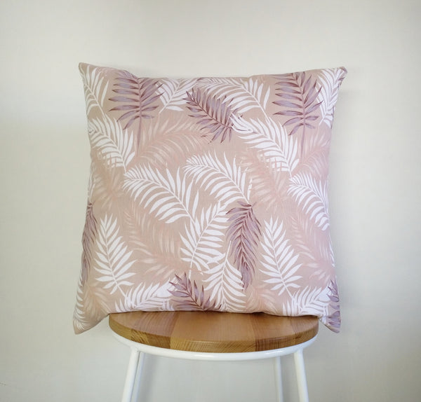 Tropical cushion cover, palm leaf cushion, pink cushion cover, palm leaf pillow cover