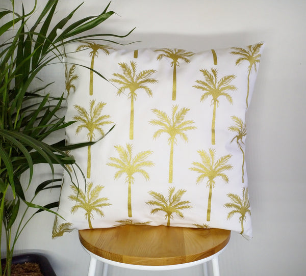 Palm tree cushion cover, gold palm cushion, tropical cushion cover pillow