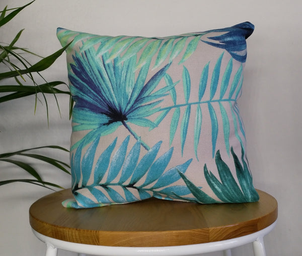 Small tropical cushion, palm leaf cushion, tropical pillow, decorative cushion