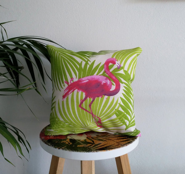Small tropical cushion, flamingo pillow, flamingo cushion, palm leaf cushion