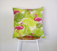 Tropical Flamingo, palm leaves cushion cover