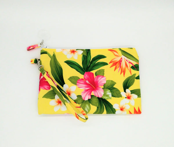 Tropical Tahitian Hibiscus flower print clutch, travel purse