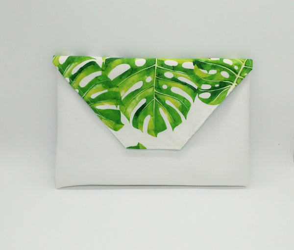 Tropical monstera clutch purse, Tropical bag, Hawaiian purse